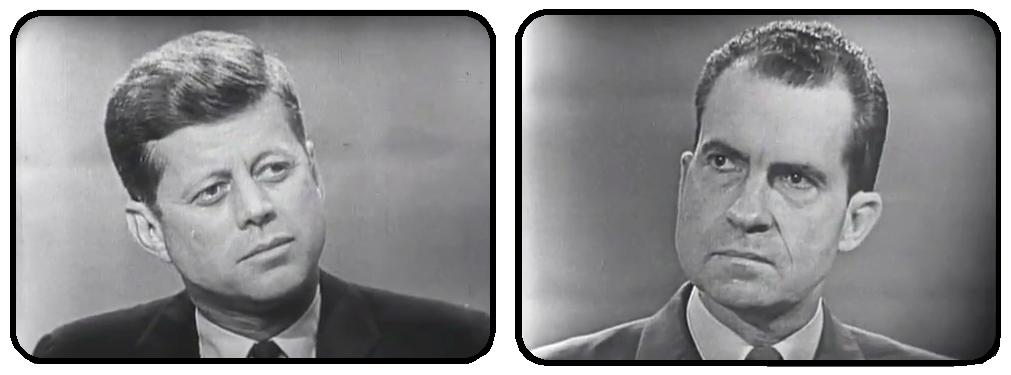 TV stills from the 1960 Nixon-Kennedy Presidential debate.