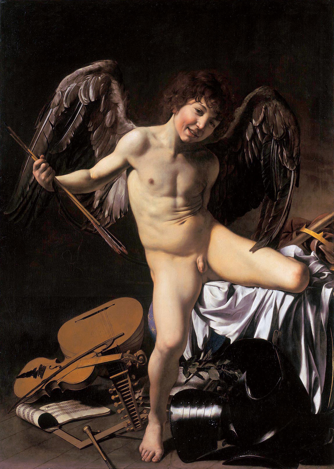 Michelangelo Merisi da Caravaggio, Amor Vincit Omnia (1602). Photoa via Wikimedia Commons.