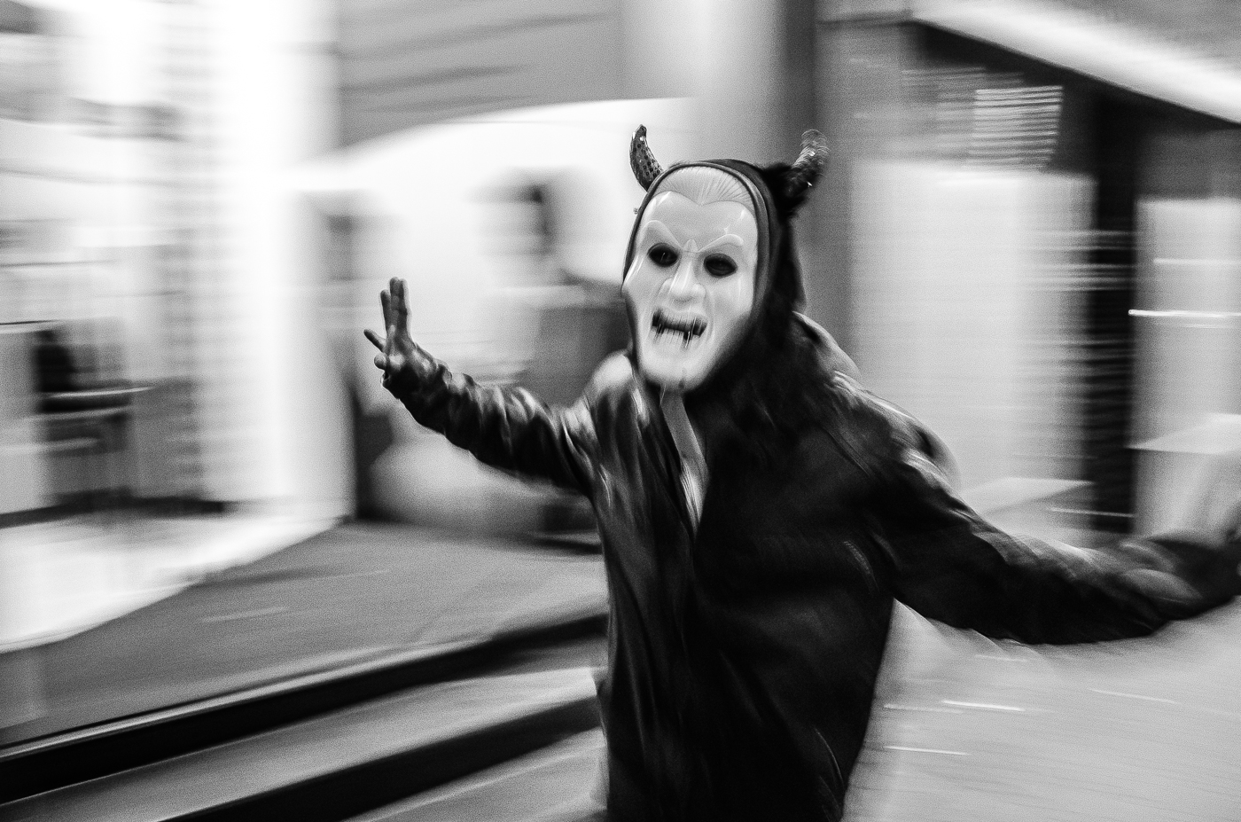 A Spooky Man With Mask on the Street