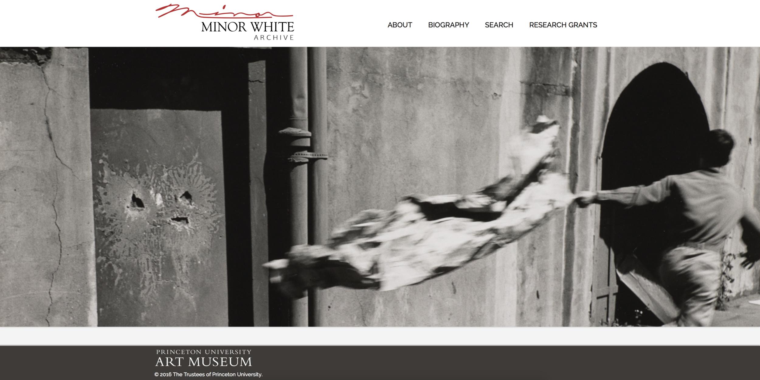 Princeton University's Minor White website. Screenshot.