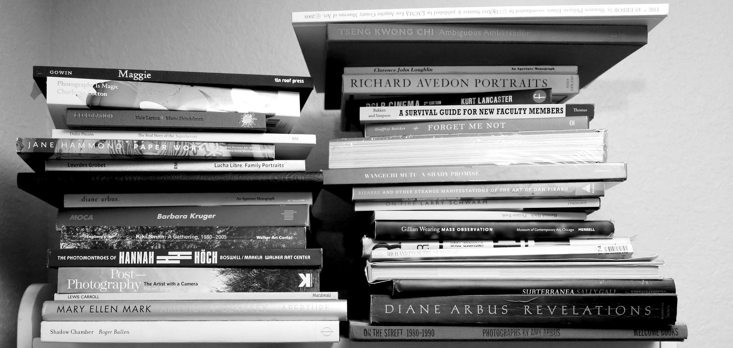 The corner bookshelf in  Sharon Lee Hart 's office at Florida Atlantic University