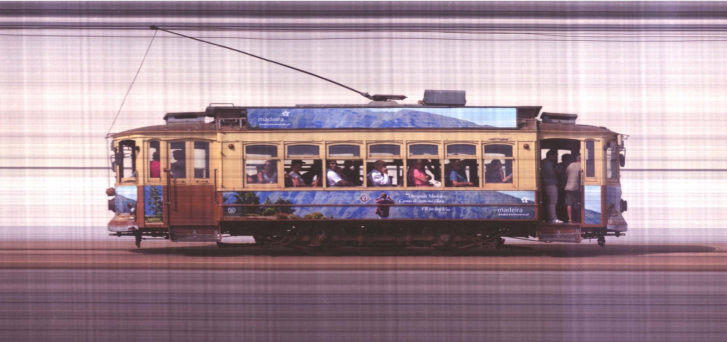 Trolley car photographed with slit-scan camera