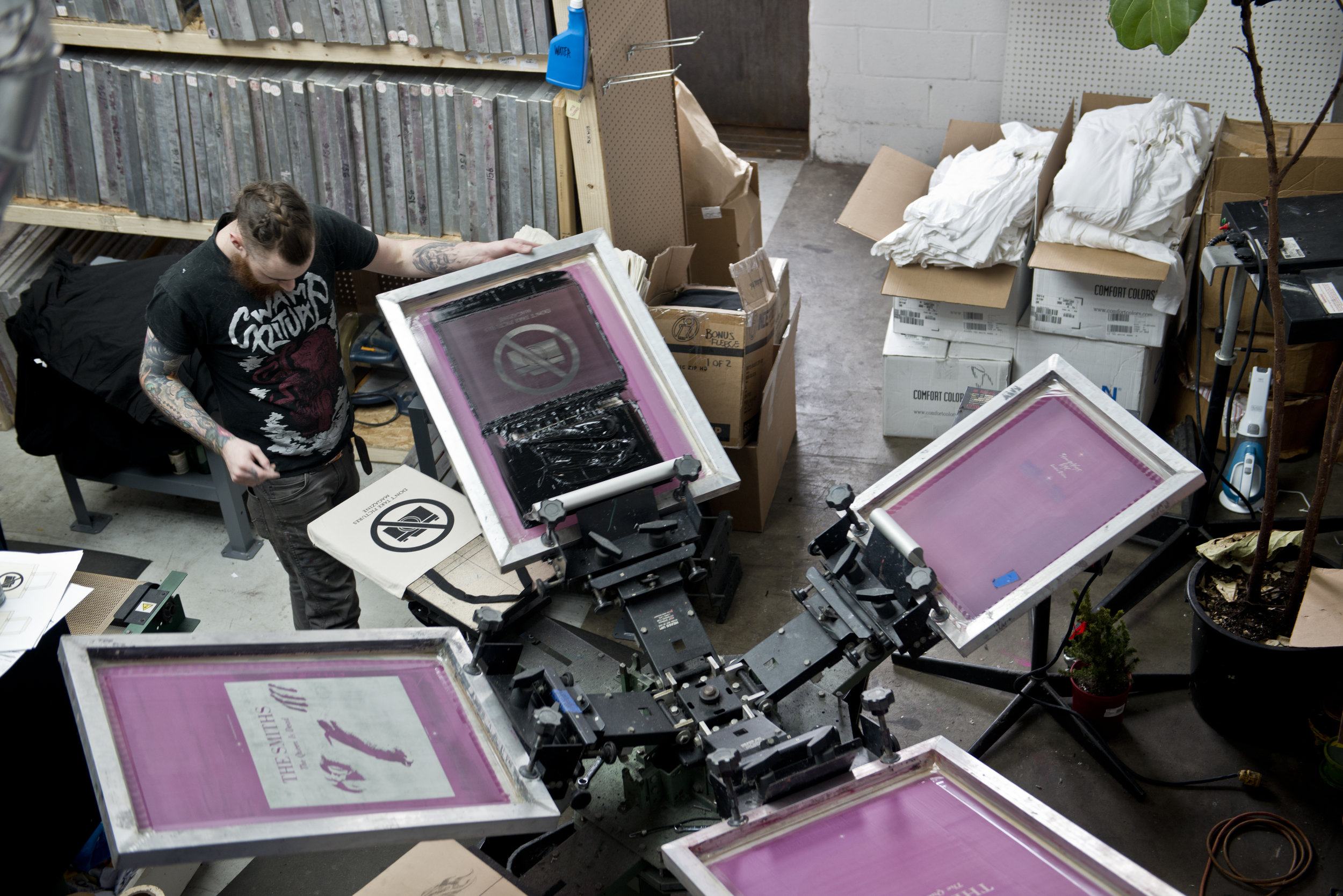 Screen printing at Pete's Print Shop
