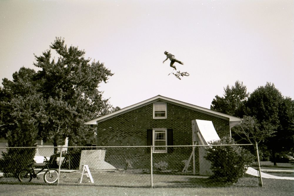 Allan Jumps His House , Andrew Burke, Half Moon Bay, CA (Kodak Disposable B&W)