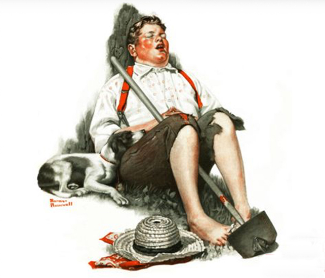 Lazy Bones by Norman Rockwell