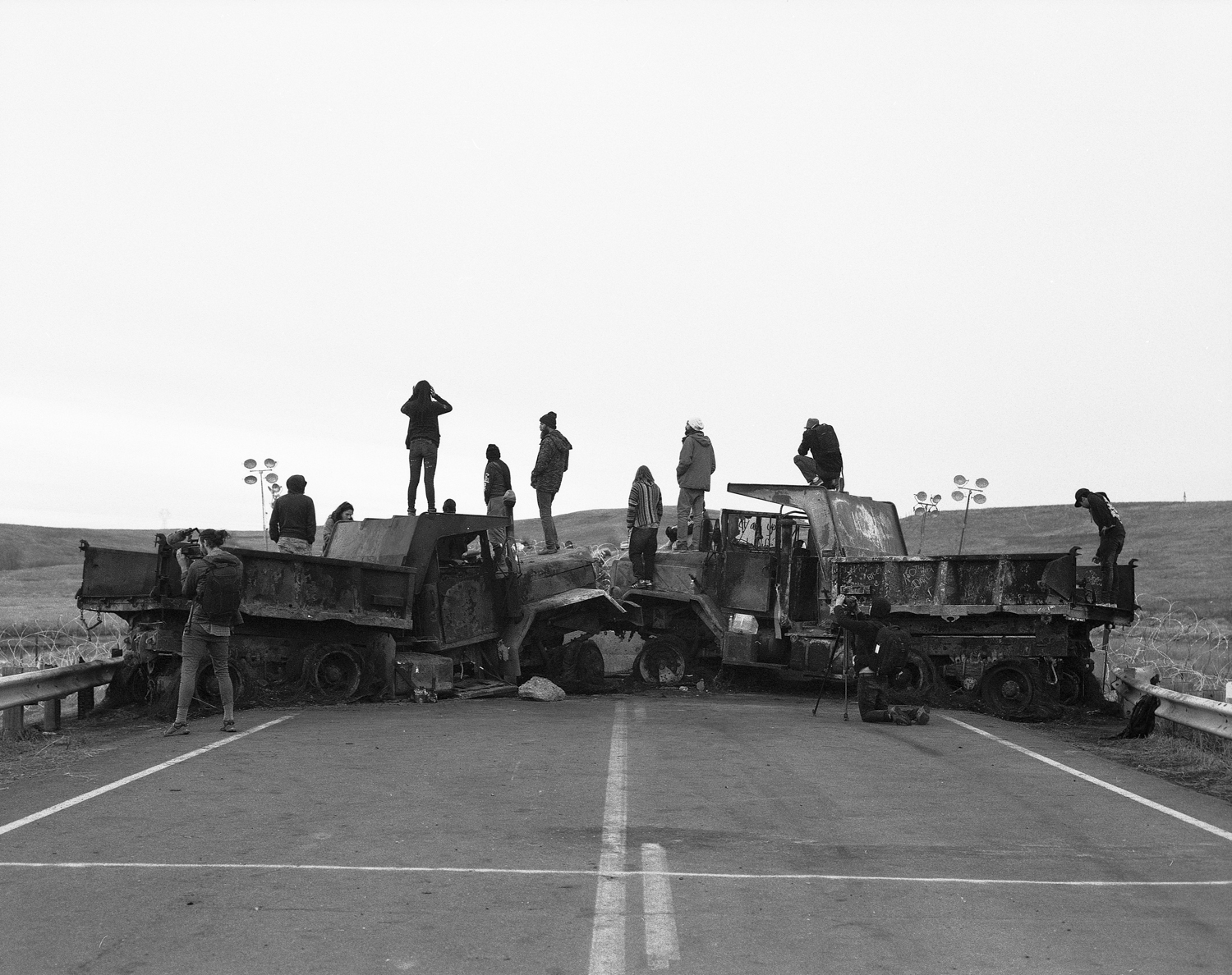 Police Barricade, Cannonball, ND, November 2016 ,  Andrew Williams