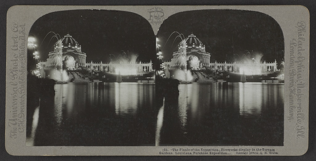 The finale of the exposition. Fireworks display in the terrace gardens. Louisiana Purchase Exposition . C.H. Graves, 1904. Courtesy of the Library of Congress.
