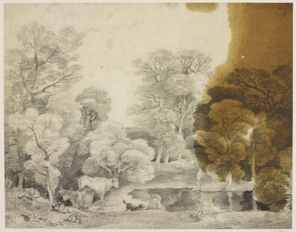 A drawing in black chalk and stump showing trees and a lake, with cows at the water's edge, and a man and his dog. Large oil stain to right. Courtesy Royal Collection Trust/© Her Majesty Queen Elizabeth II 2017.