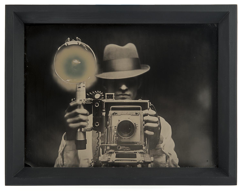 Flash , layered ambrotypes, cut vinyl, glass, artist-made frame