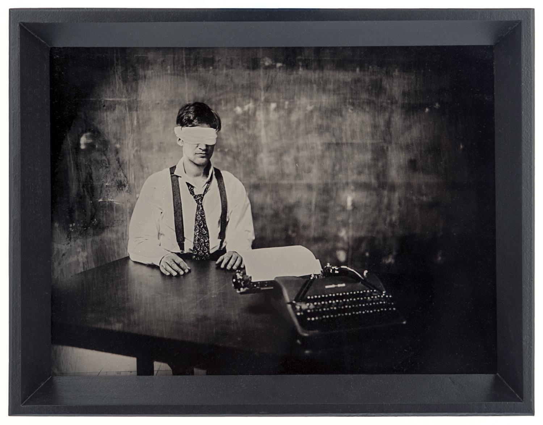 Interrogation , layered ambrotypes, cut vinyl, glass, artist-made frame