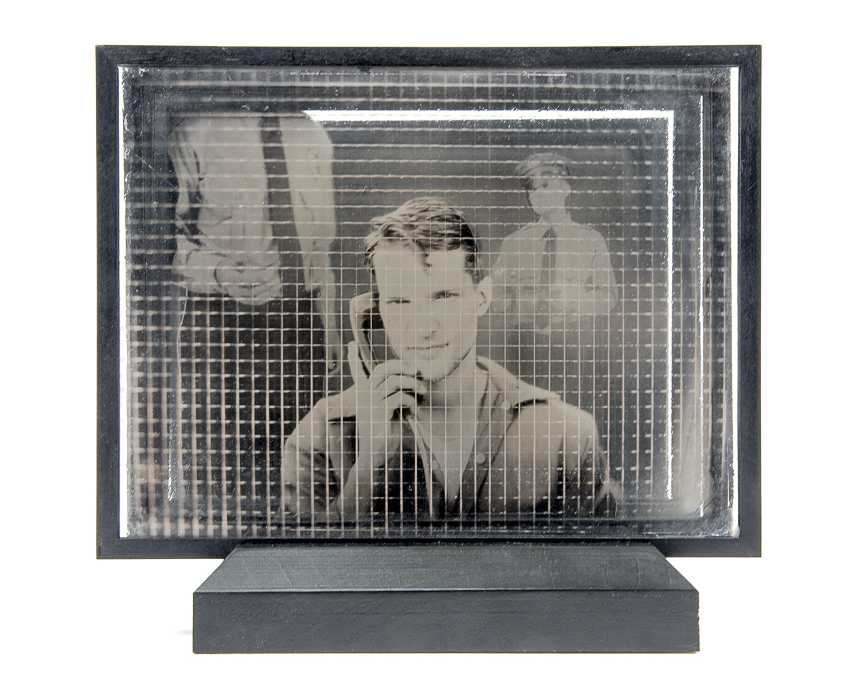 Visitation , layered ambrotypes, cut vinyl, glass, artist-made frame