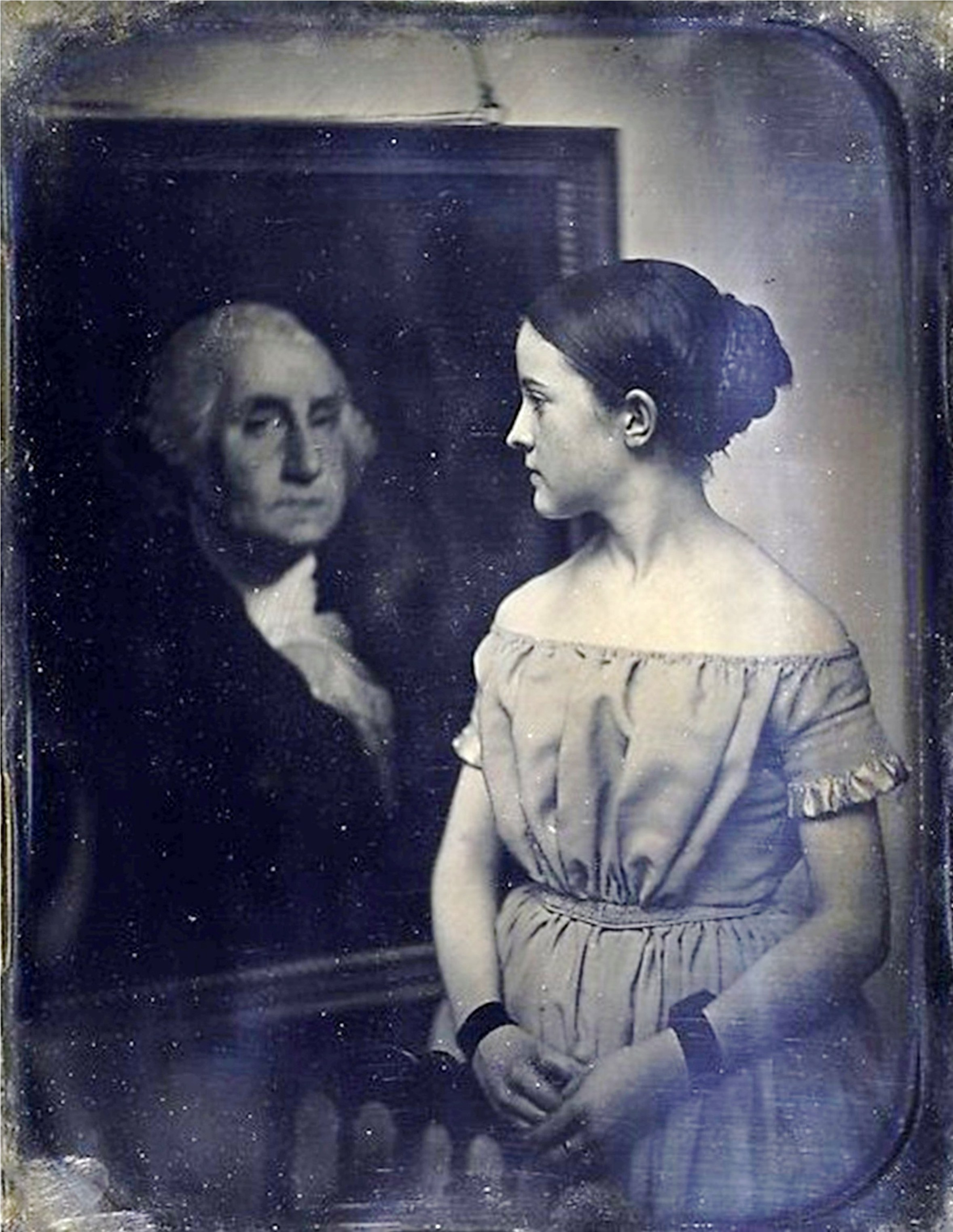 Young Girl with Portrait of George Washington. Photo by  Josiah Johnson Hawes, via Wikimedia Commons