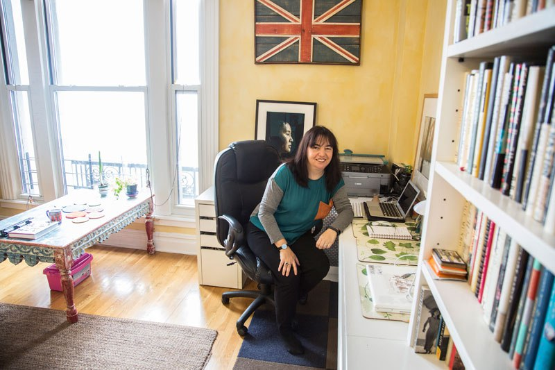 Sarah at her writing desk. Photo ©Mark Jenkinson, 2015