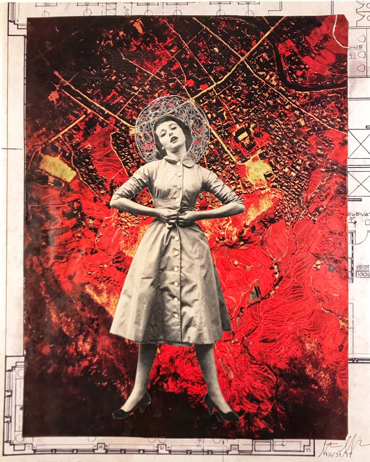 December 31, 2017,  Buttoned Up! (365 Done!) , collage mixed media, 14 x 11