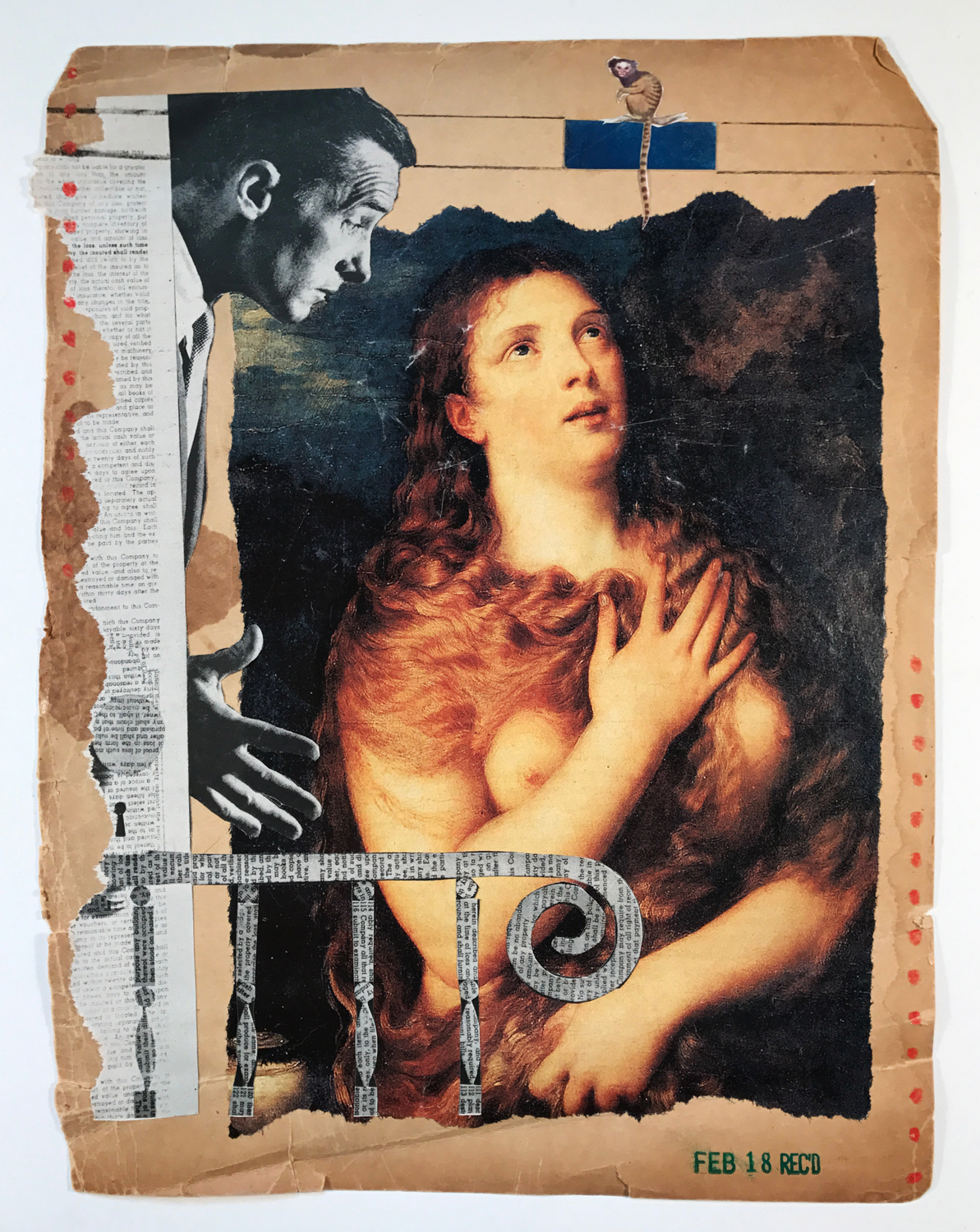 February 18, 2017,  The Male Gaze/The Female Gaze , mixed media collage, 12 x 10
