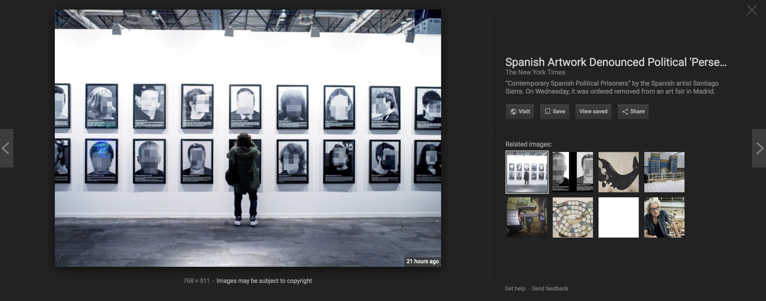 """Google for Santiago Sierra's  Political Prisoners in Contemporary Spain -   note that the """"view image"""" button is missing."""