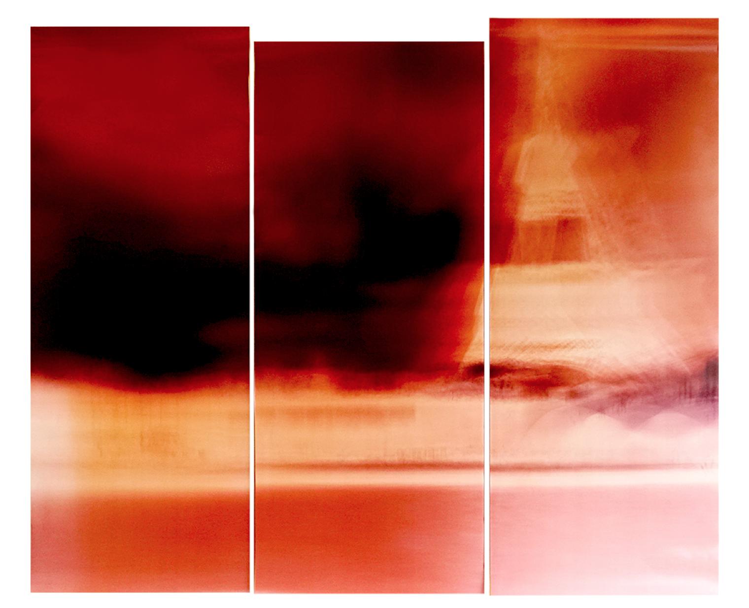 """Motiongraph #109 N 48°51'29.77"""", E 2°17'23.15"""", Current 5 km/h, (Eiffel Tower, River Seine, Paris) 3:02PM, November 19, 2017, 90 x 80 inches, triptych, unique chromogenic paper negatives."""