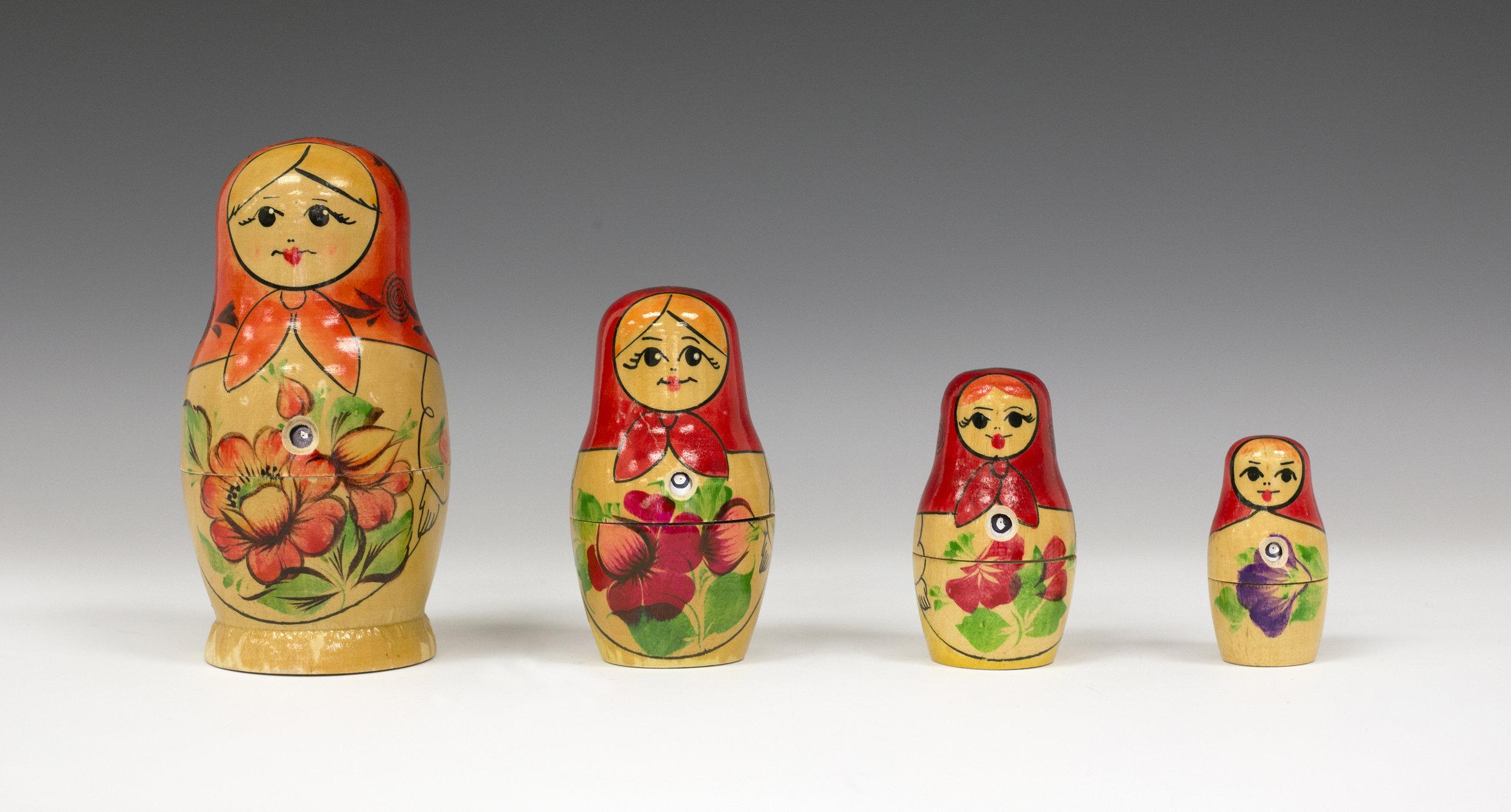 Russian nesting dolls as pinhole cameras.
