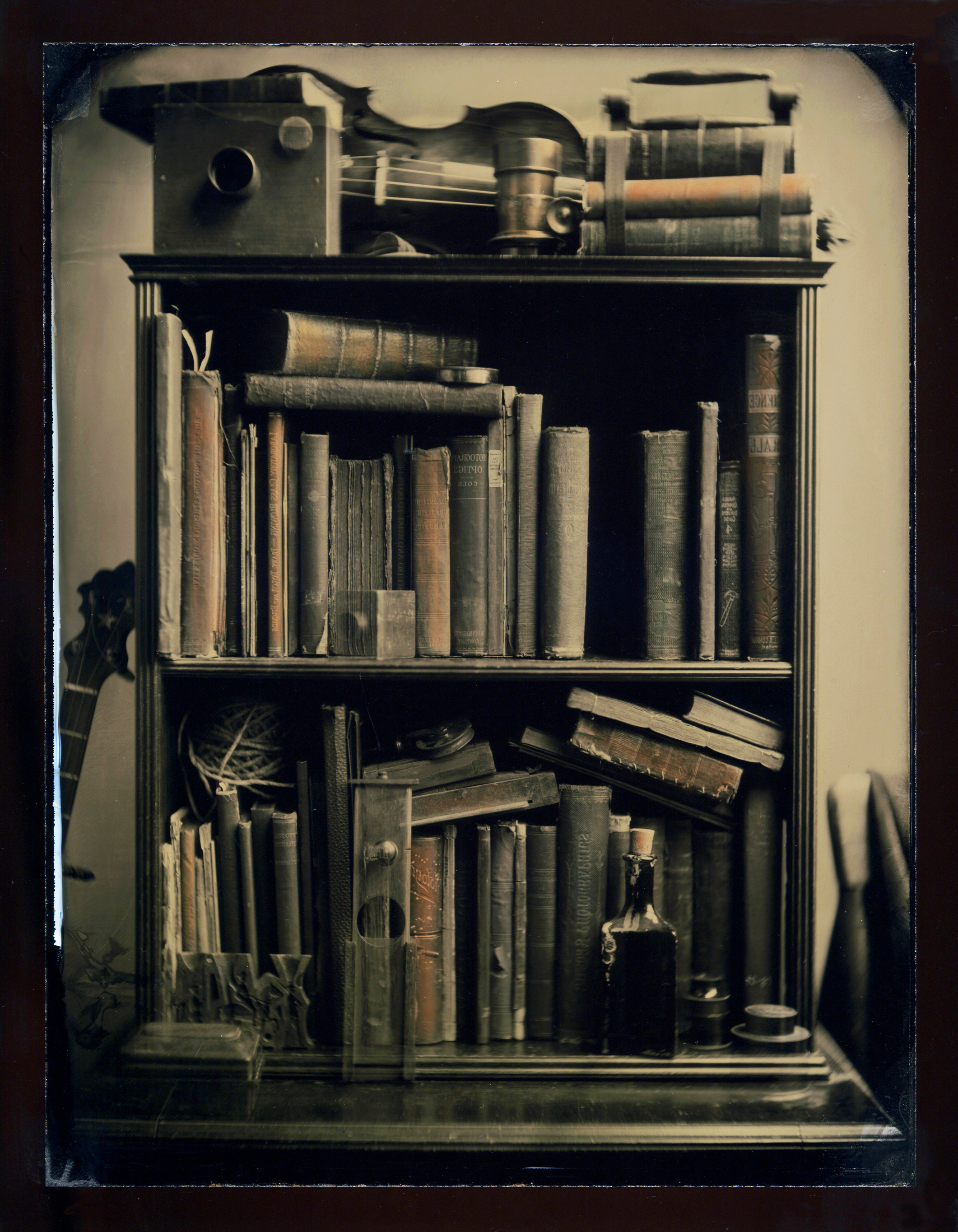 Mark Osterman 's library in collodion.  Unreturned  from the series  Still Life , ambrotype