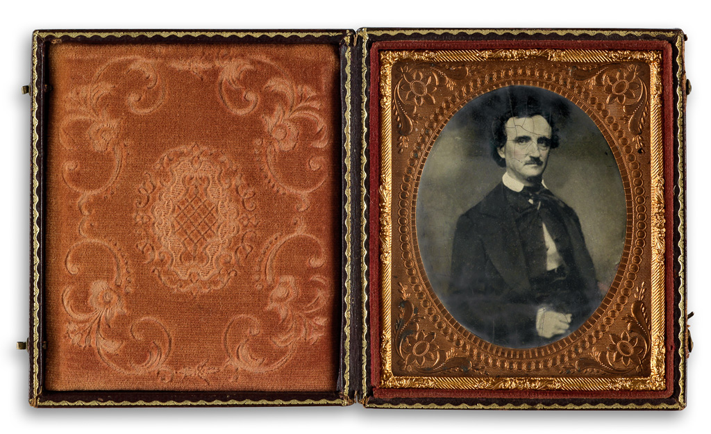 """Poe sat for many photographic portraits during his short life. This image is a tintype after the so-called """"Traylor daguerreotype"""" named for legendary Poe collector Robert Lee Traylor, who once owned the image. The daguerreotype was made in 1849 by William A. Pratt in Richmond, Virginia, and the tintype was produced later."""