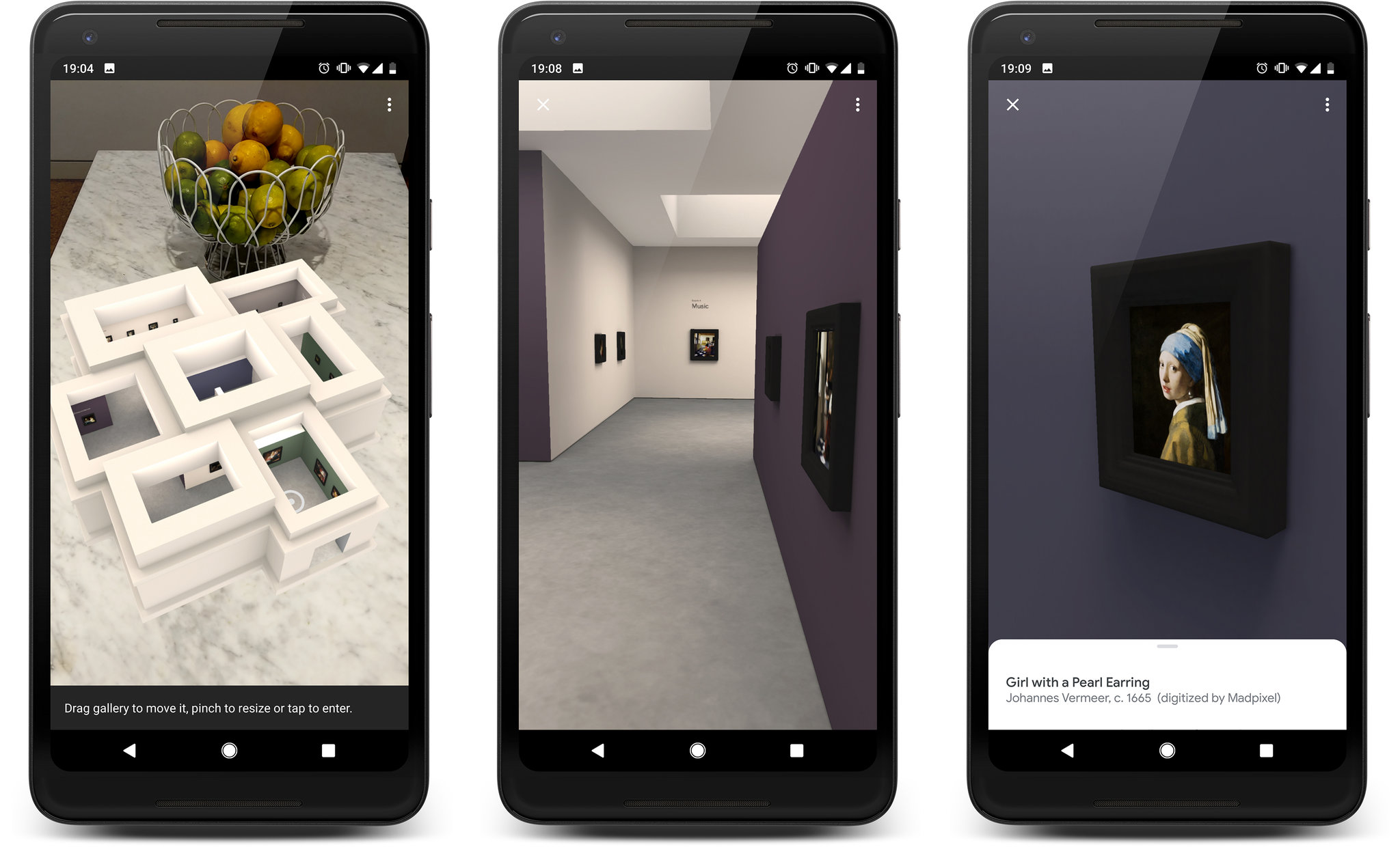 """Meet Vermeer, a new augmented-reality app from the Mauritshuis museum and Google, is a virtual museum containing images of all authenticated Vermeer paintings. From left, an overhead view of the galleries in miniature; a look inside the space; and """"Girl With a Pearl Earring"""" on the wall.CreditCreditvia Mauritshuis/Google Arts & Culture"""