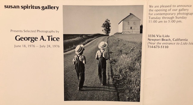 Showcard from George Tice's first exhibition at Susan Spiritus Gallery.