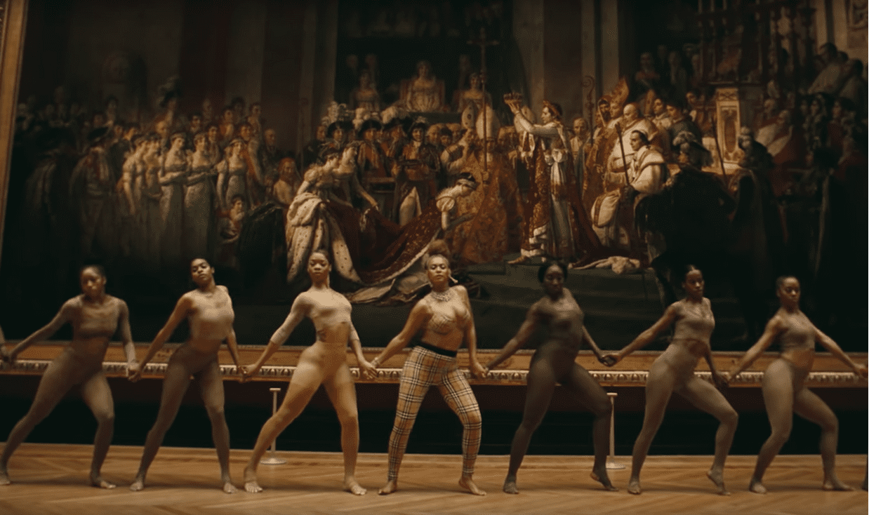 A still from the video for Apeshit, featuring the Consecration of the Emperor Napoleon and the Coronation of Empress Joséphine (1804), by Jacques-Louis David. Photograph: Youtube