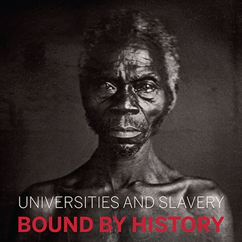 Promotional materials for a 2017 conference at Harvard on the links between academia and slavery. The program bears the image of Renty, a slave from whom Tamara Lanier says she descended.