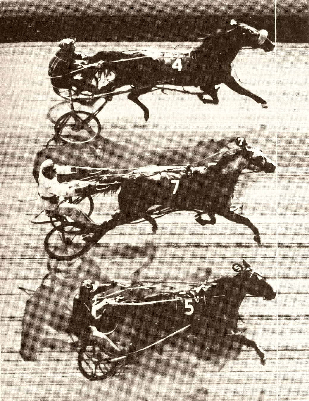 The first triple dead heat in harness racing: Patchover (Ed Myer), Payne Hall (F. Albertson) and Penny Maid (E. Beede) in a Freehold Raceway (USA) race. By Unknown - Gooreen collection,  Public Domain