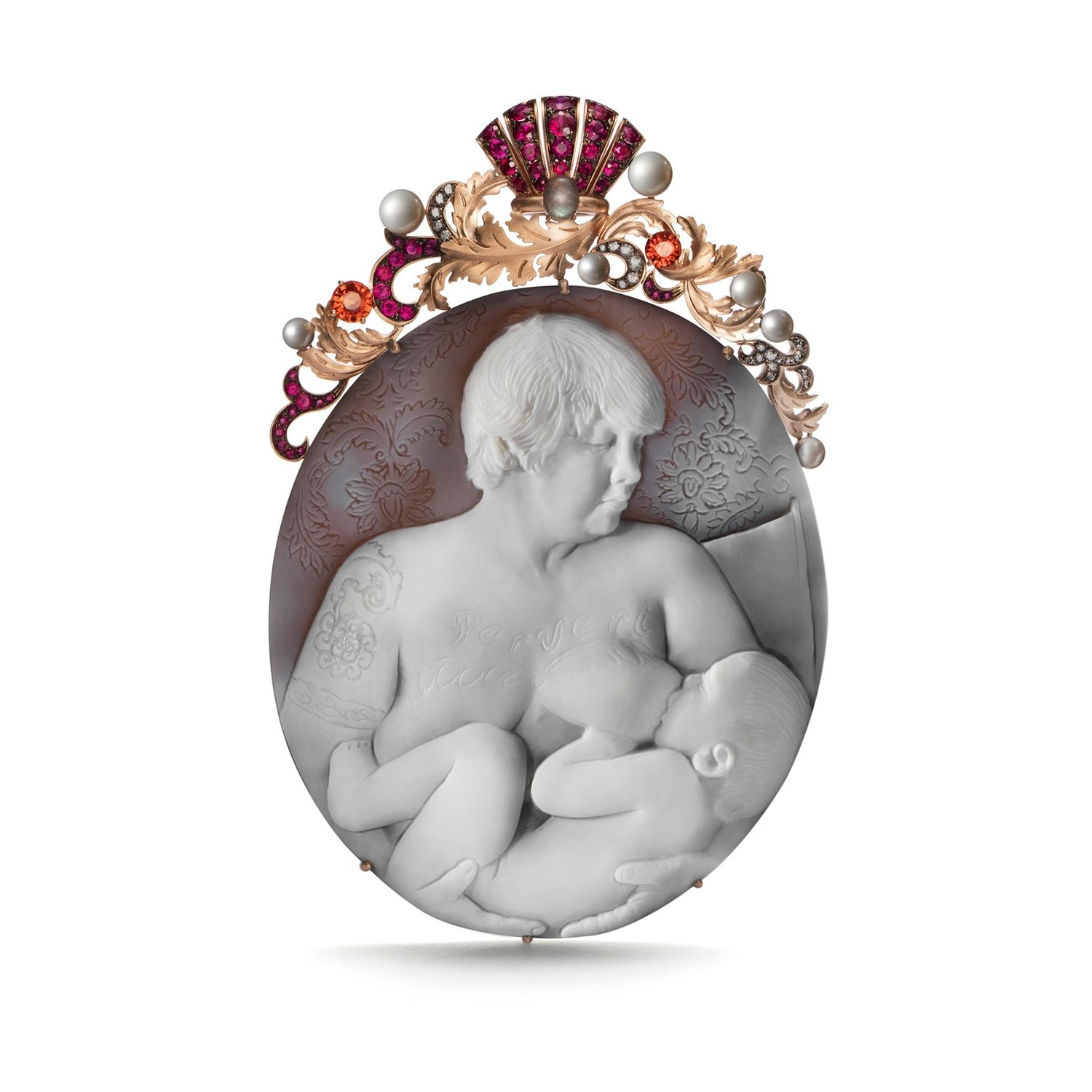 Self-Portrait Nursing  pendant by Catherine Opie for the new LIZWORK Cameo line. Photo courtesy of LIZWORKS.