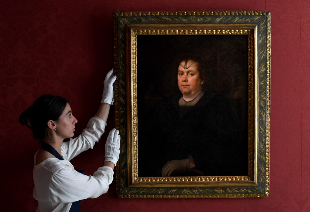 Diego Velázquez,  Portrait of Olimpia Maidalchini Pamphilj (1591-1657), half length, wearing black  Photo by Chris J Ratcliffe/Getty Images for Sotheby's. Courtesy Sotheby's.