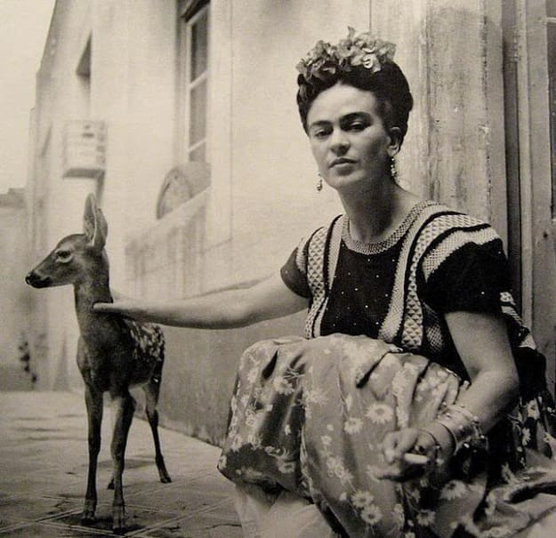 Frida and her fawn.  Via    tumblr.com