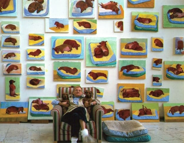 Hockney with Stanley, and Boodgie in front of their portraits.  Via    paintlater.wordpress.com