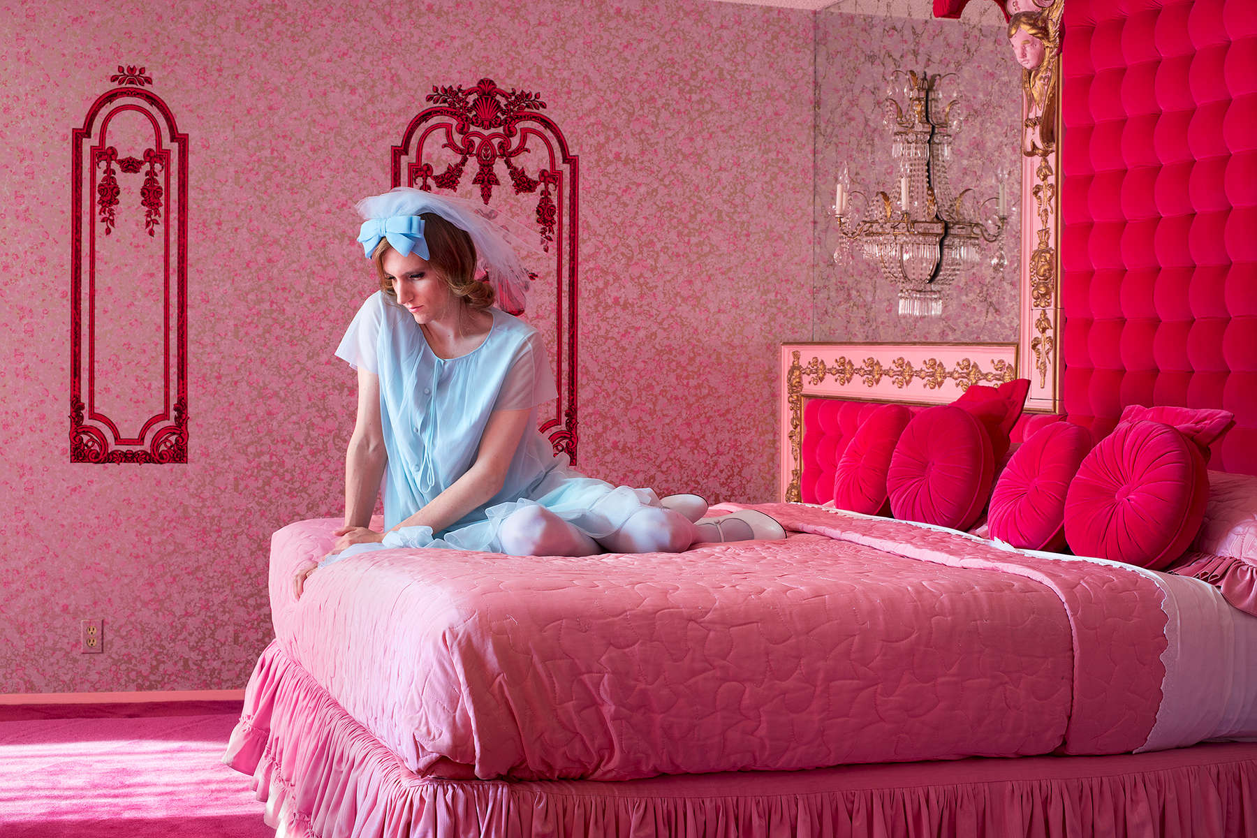 Pink Bedroom (for Priscilla) , 2017, archival pigment print; ©Lissa Rivera/courtesy of ClampArt, New York City