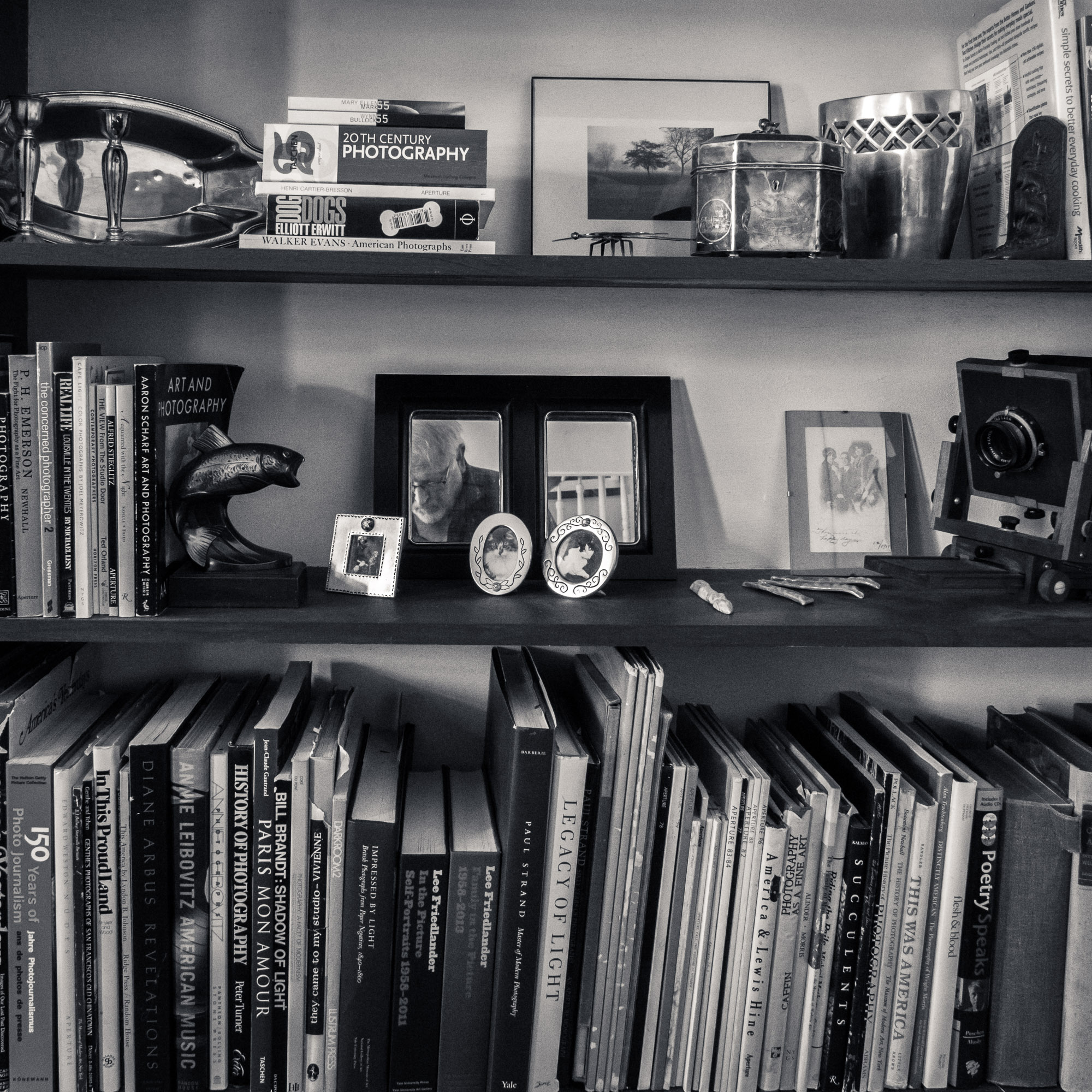 Nick Van Zanten 's photobook library in black-and-white