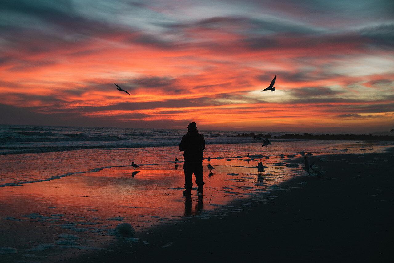 Fisherman at Sunset, February 2016 ,  Sam Stone