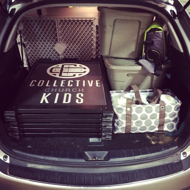 Pre-Building: All of our church's earthly possessions fit in the back of the pastor's car