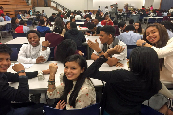 After refueling at lunch, these sophomores show off their pedometers for the camera. CHIL pedometers are quickly becoming part of these sophomores' everyday routine. From breakfast to the classroom, students wear their pedometers 24/7 to track their physical activity levels, both in and out of school.