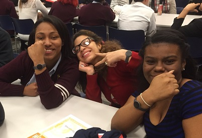 These students are wearing their new wristbands with a smile. We can't wait to check in with the sophomores in a few weeks to see how much progress they're making toward their activity goals. Peace out for now!
