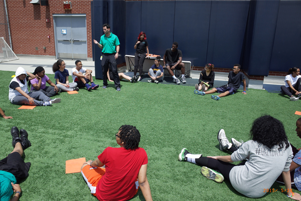 During Mr.Seely's gym class at Achievement First University Prep High School, students set pedometer goals and discussed ways they could increase their physical activity in and out of school.