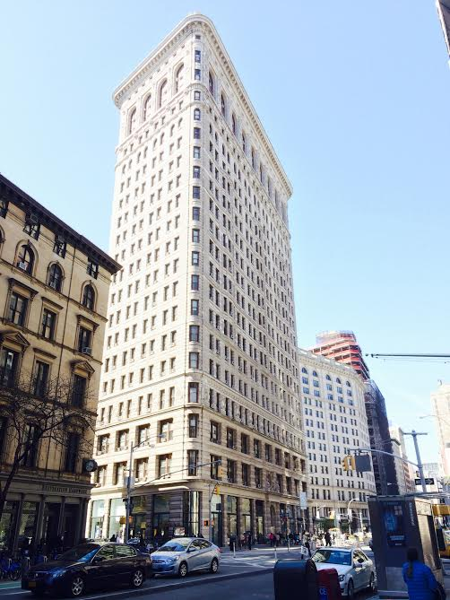 Back of the Flatiron Building, known for its triangular configuration that makes the front look very thin.
