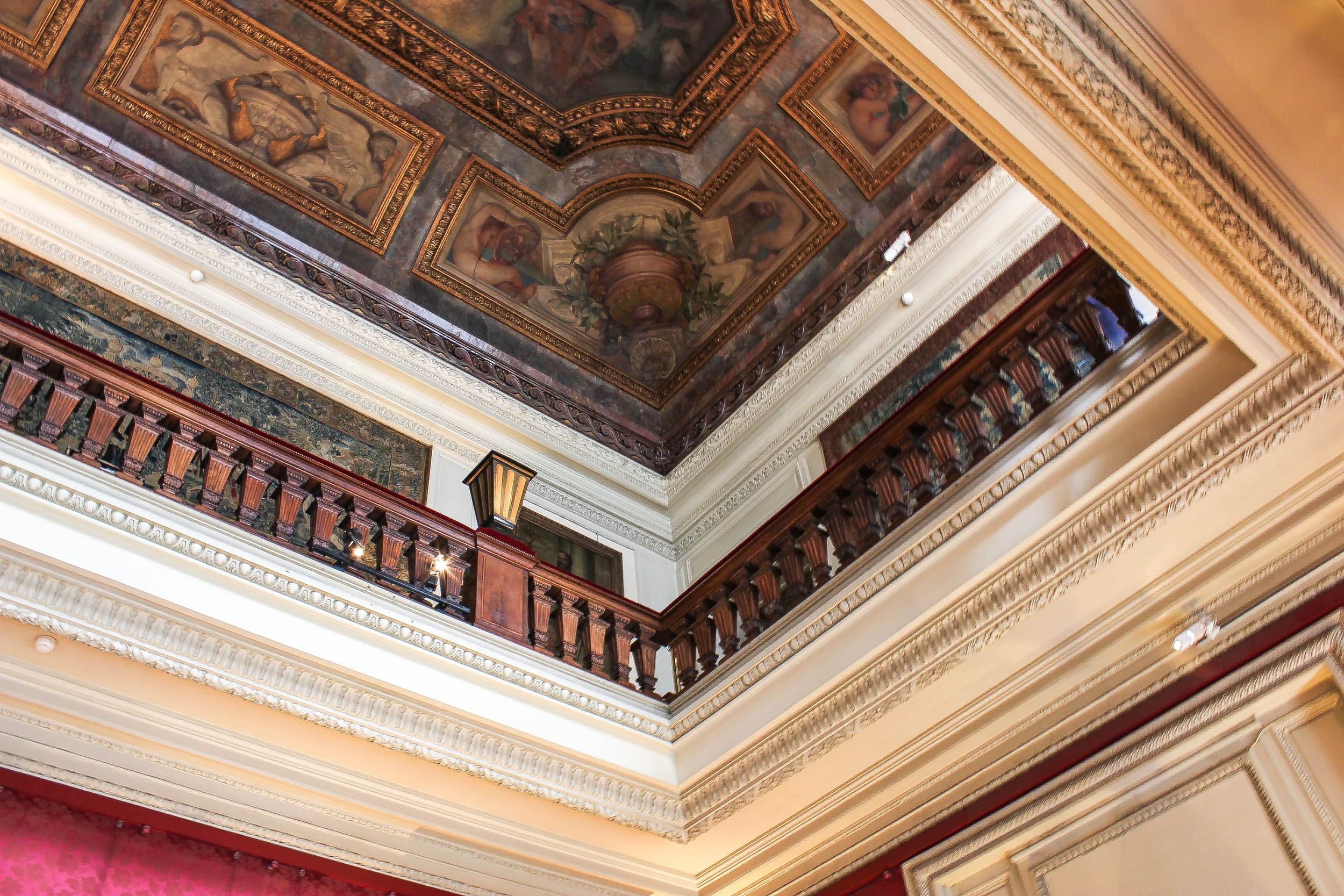 the two story grand ballroom, 16th century tapestries on the second floor