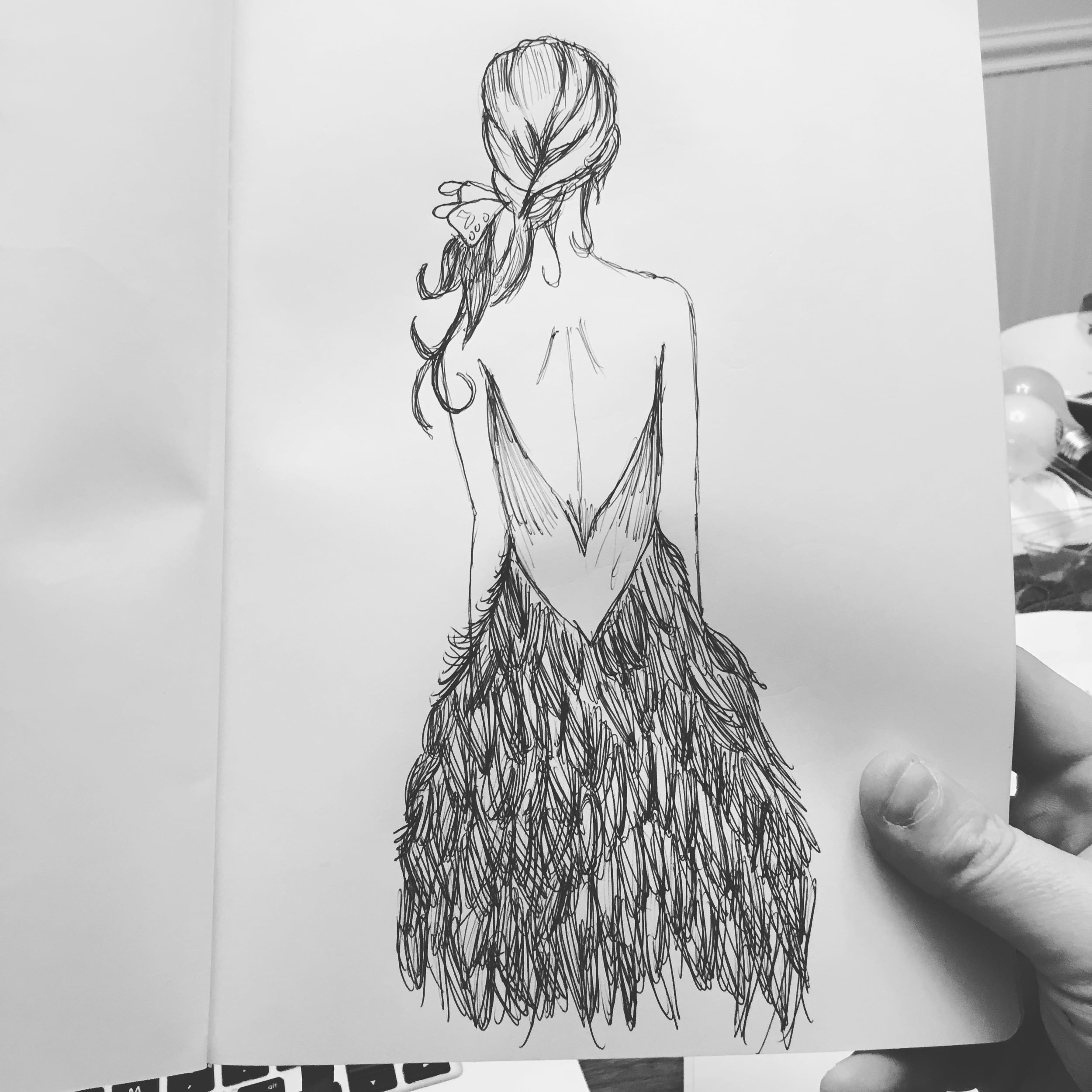 Drawing of a female figure after an artist on Pinterest.