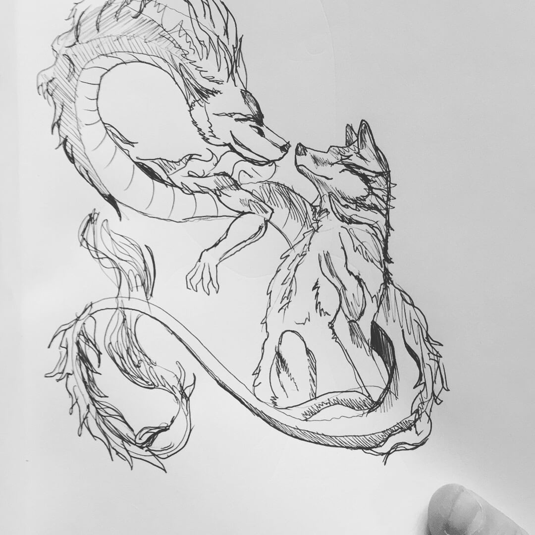 Dragon and Wolf copied from Pinterest.