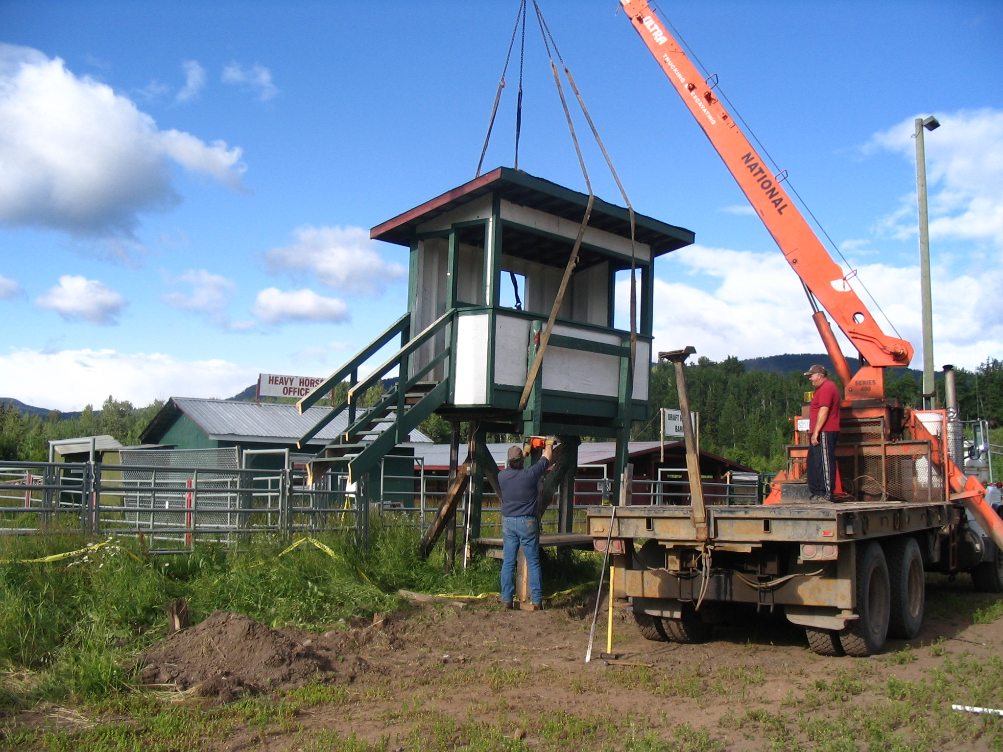 2008 - SRC Old Rodeo Announcer booth gets a new location, thanks to ULTRA TRUCKING & EXCAVATING !
