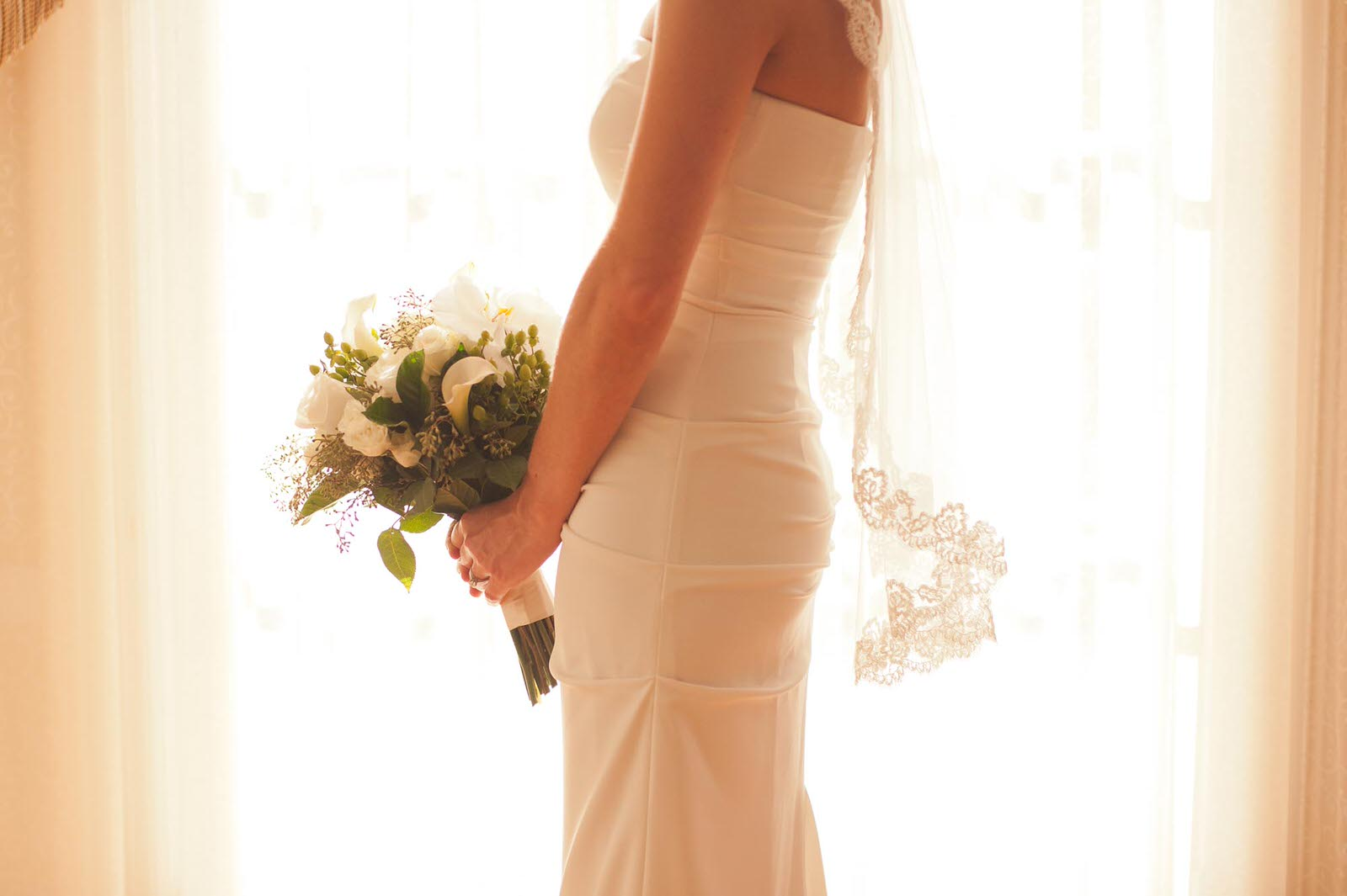 Photography of Bride, Her Dress, and Bouquet in Harrisonburg