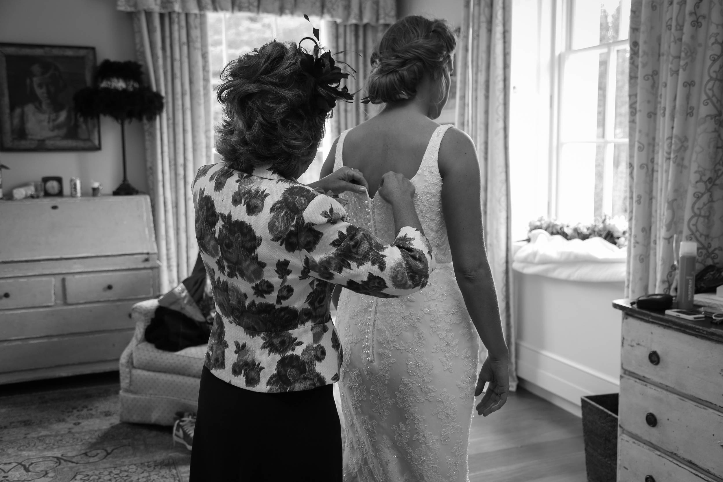 Julia and her mum Hilary on the morning of her wedding. Such a special moment for mother and daughter.