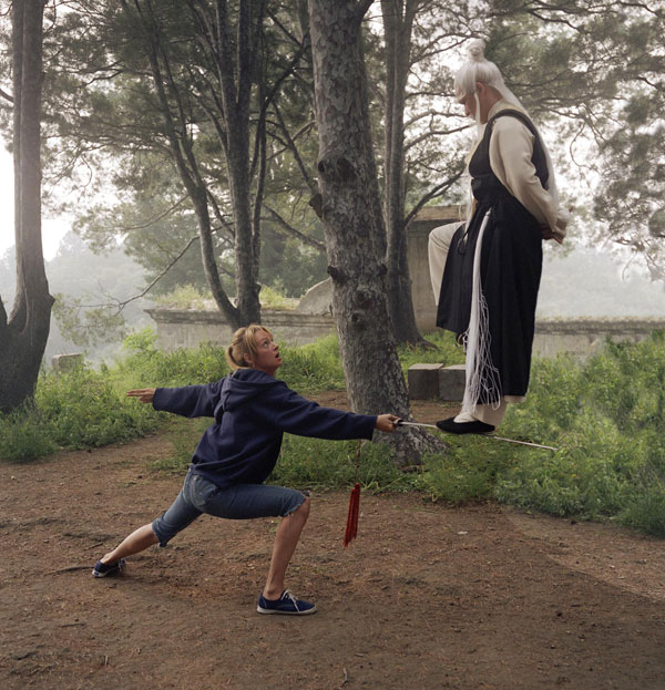 Uma Thurman meeting her cruel teacher for the first time where he demonstrates his other worldly abilities, reminiscent of Wuxia films.