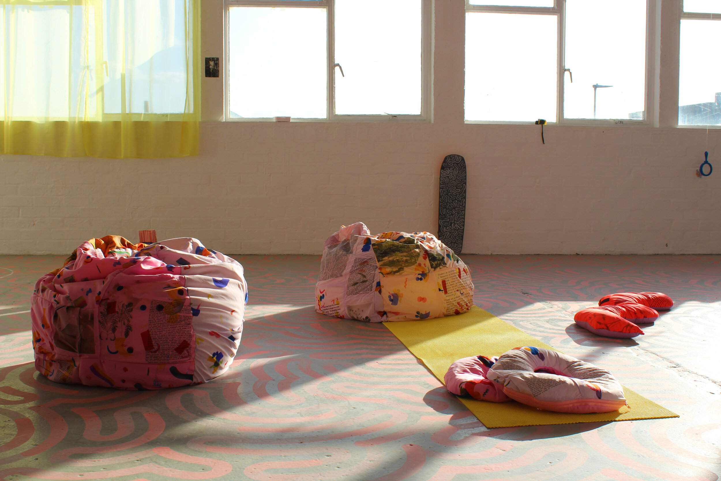Larissa Shaw  Learning Objects  (2019) Beanbags and floor objects Various sizes