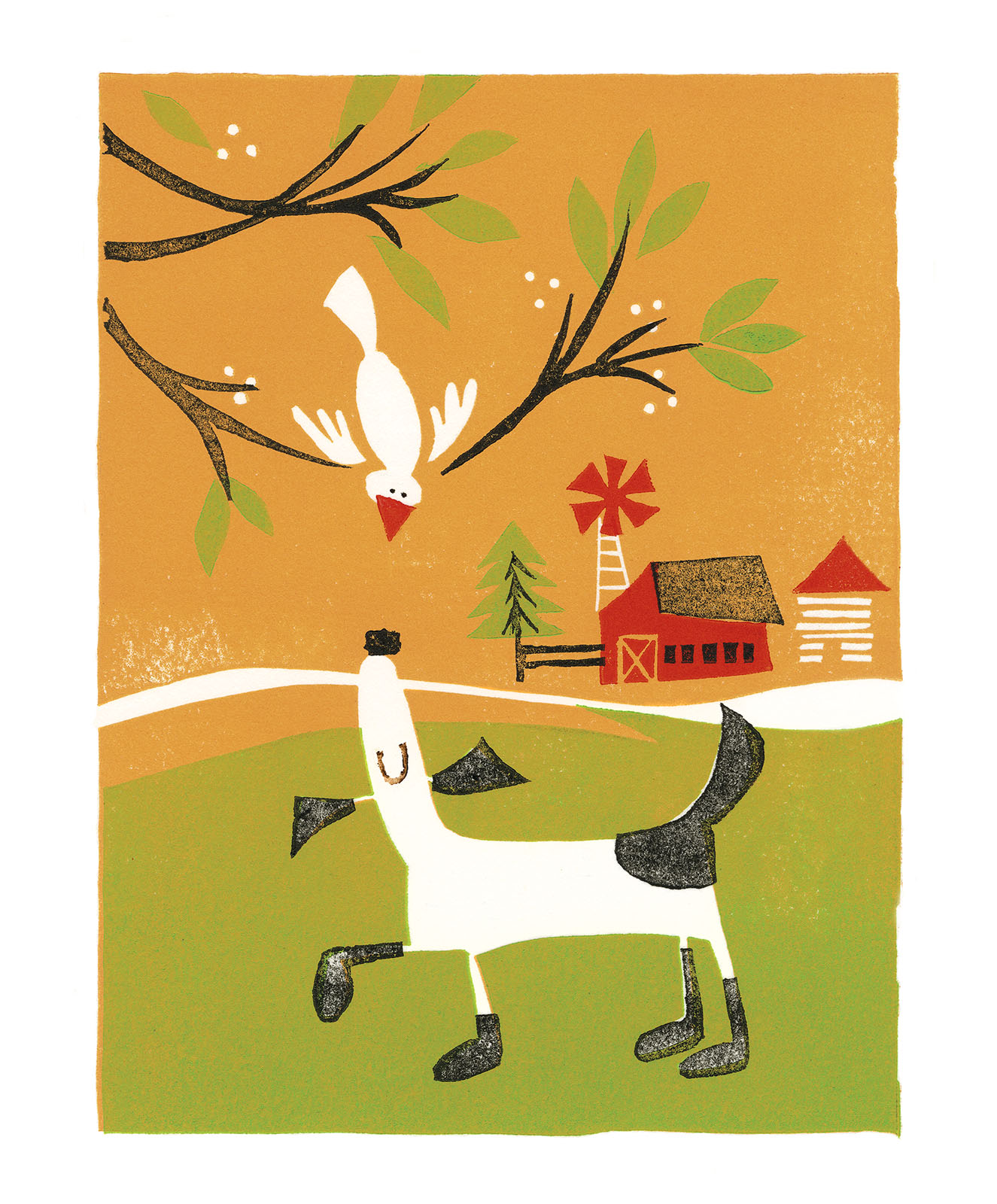 I told editor Janine Vangool I grew up on a picture book-like family farm with lots of animals including a dog named Tippy. Here's Tippy engaging with a slightly cautious bird as she makes her rounds. To see the interview and snaps of my letterpress studio get yourself a copy of  Work/Life 3  .